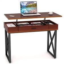computer desk monitor lift tribesigns height adjustable standing desk lift top computer desk