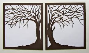 tree of life home decor 2 trees of life silhouette paper cut in brown over white