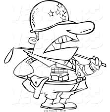 vector of a cartoon tough military general outlined coloring