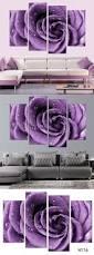 free shipping 3 piece wall art white purple lover flower big