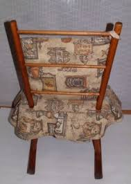 childs wooden rocking chair rocker with fabric cushion