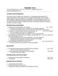 Patient Care Technician Resume Sample by Inspiring Resume Examples For Students