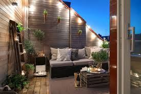 decorations warm outdoor rooftop patio area with
