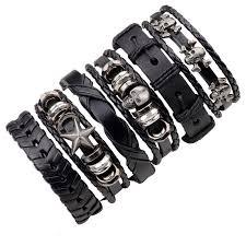 men black leather bracelet images 6pcs black leather bracelet men woman braid bracelets with metal jpg