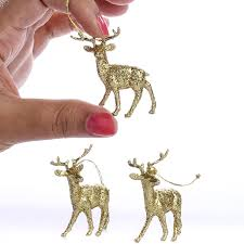 miniature glitter gold deer ornaments miniatures