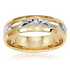 men s wedding bands 14k white yellow gold diamond cut wedding band