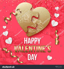 valentines day background heart puzzle gold stock vector 563558863