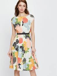 colorful dress colorful flower print fit flare belted dress shein sheinside