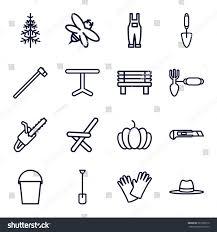 gardening icons set set 16 gardening stock vector 581528710