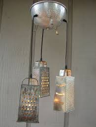 Funky Kitchen Lights Repurposed Upcycled Cheese Grater And Copper Colander Light