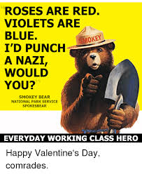 Smokey The Bear Meme - roses are red violets are blue smokey i d punch a nazi would you