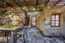 small cottages traditional houses in crete greece