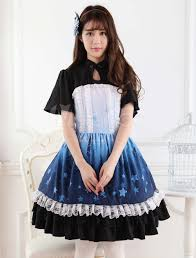 ombre blue star print lace cute dress milanoo com