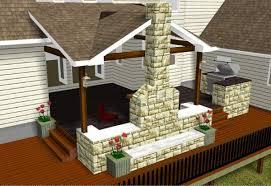 covered patio with fireplace custom design rendering austin decks pergolas covered patios