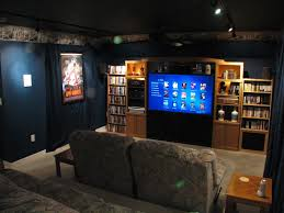 Home Theater Room Decorating Ideas Cozy Black Sofa For Small Theater At Home Techethe Com