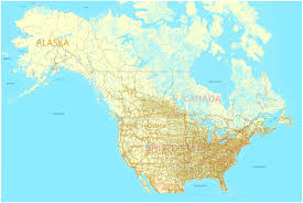 us and canada printable map with all roads cities states all