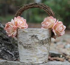 Chic Flower Shabby Chic Flower Basket Rustic Wedding Birch With Twig
