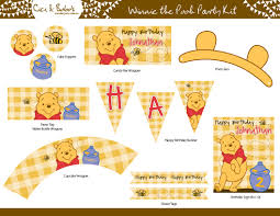 Winnie The Pooh Home Decor by Winnie The Pooh Birthday Party Printable Set Cupcake Toppers