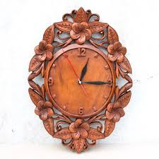 Indonesia Home Decor Balinese Flowers Wall Clock Wood Panel Hand Carved Asian Decor