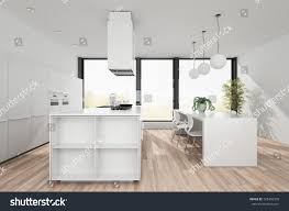 modern white kitchen open plan dining stock illustration 725406370 modern white kitchen with open plan dining area and centre island wooden floor hanging