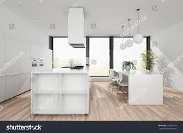 kitchen central island modern white kitchen open plan dining stock illustration 725406370