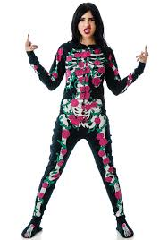 footie pajamas halloween costumes too fast rose vine skeleton skelly footed pajamas dolls kill