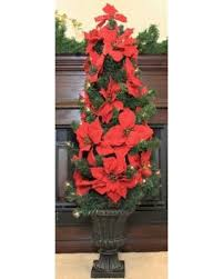 deal on 46 pre lit artificial poinsettia potted