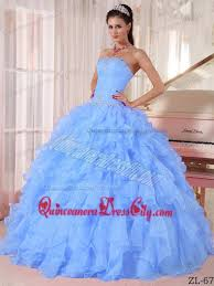 blue quincea era dresses blue gown strapless floor length organza beading quinceanera