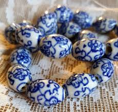 Navy Blue An by Hand Painted Navy Blue And White Beads Porcelain With Asian Good