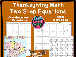 solving equations thanksgiving turkey math two step equations