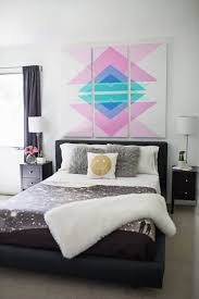 headboard wall art diy geometric art headboard panels shelterness
