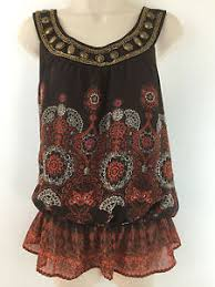 elastic waist blouse apt 9 s top brown print beaded chiffon boho elastic waist