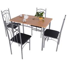 amazon com wakrays 5pcs wood and metal dining set table and 4