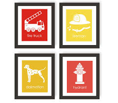 Firefighter Nursery Decor Fireman Nursery Prints Set Of 4 Modern Nursery Decor