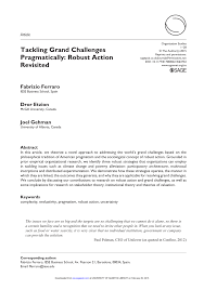 tackling grand challenges pragmatically robust action revisited