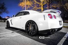 Nissan Gtr Back - white alpha 9 nissan gt r on d2 forged wheels three quarter rear