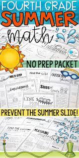 Special Education Worksheets Math Summer Skills Review No Prep Packet 4th Grade Math