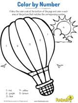 air balloon color number coloring printable