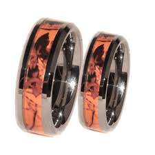 Mens Hunting Wedding Rings orange camo band couples ring set anniversaries couples and ring