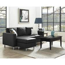 Small Leather Sofa With Chaise Dorel Living Small Spaces Black Faux Leather Configurable