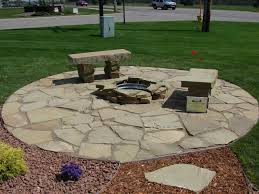 Flagstone Patio With Pergola Flagstone Patio And Natural Stone Fire Pit Traditional Patio