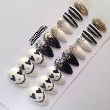 skull u0026 glitter stiletto nails nail designs nail art nails