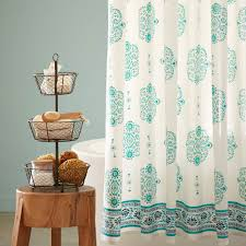 Brown And Teal Shower Curtain by Mirror Paisley Shower Curtain Vivaterra