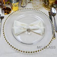 cheap wedding plates wholesale cheap fancy decoration gold silver beaded glass wedding