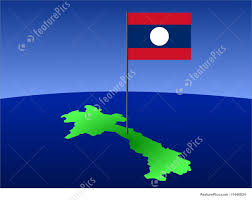 Map Of Laos Map Of Laos With Flag Stock Illustration I1440824 At Featurepics