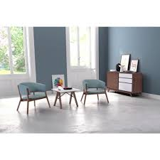 zuo chapel blue polyester arm chair set of 2 100155 the home depot