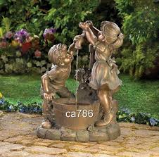 outdoor water fountains boy play statue garden outdoor