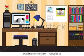 Room With Desk Flat Design Kiber Sport Gaming Vector Stock Vector 443309143