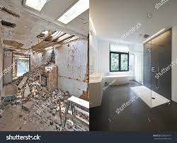 renovation bathroom before after horizontal format stock photo