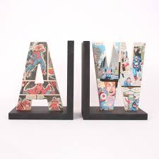 comic book letter bookend gift for him by bombus